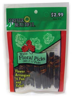 View FLORAL PICKS 60 COUNT 2 1/2 INCH WIRED ASSORTED PREPRICED $2.99