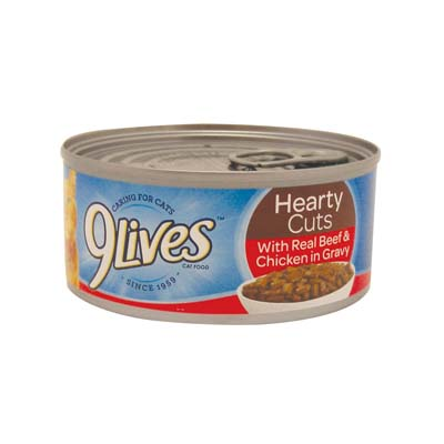 View 9 LIVES CAT FOOD 5.5 OZ TENDER BEEF AND CHICKEN SLICES