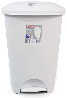View STERILITE WASTE BASKET 44 QUART WITH STEP OPENER WHITE