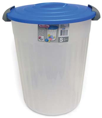 View STERILITE UTILITY CAN 24 QUART WHITE WITH BLUE LID**MADE IN USA**