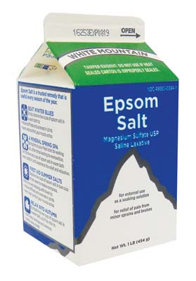 View WHITE MOUNTAIN EPSOM SALT 1 LB  BOX EXP 08/31/2019 **MADE IN USA**