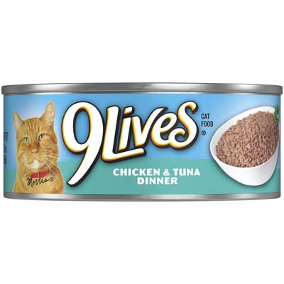 View 9 LIVES CAT FOOD 5.5 OZ CHICKEN & TUNA CAN