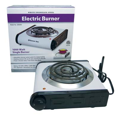 View COMFORT ZONE ELECTRIC BURNER 9.5 INCHES 1000 WATT ETL APPROVED