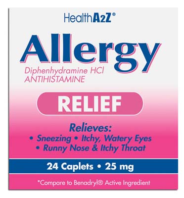 "View ALLERGY RELIEF 24 COATED CAPLETS DIPHENHYDRAMINE 25 MG ""COMPARE TO BENADRYL"""