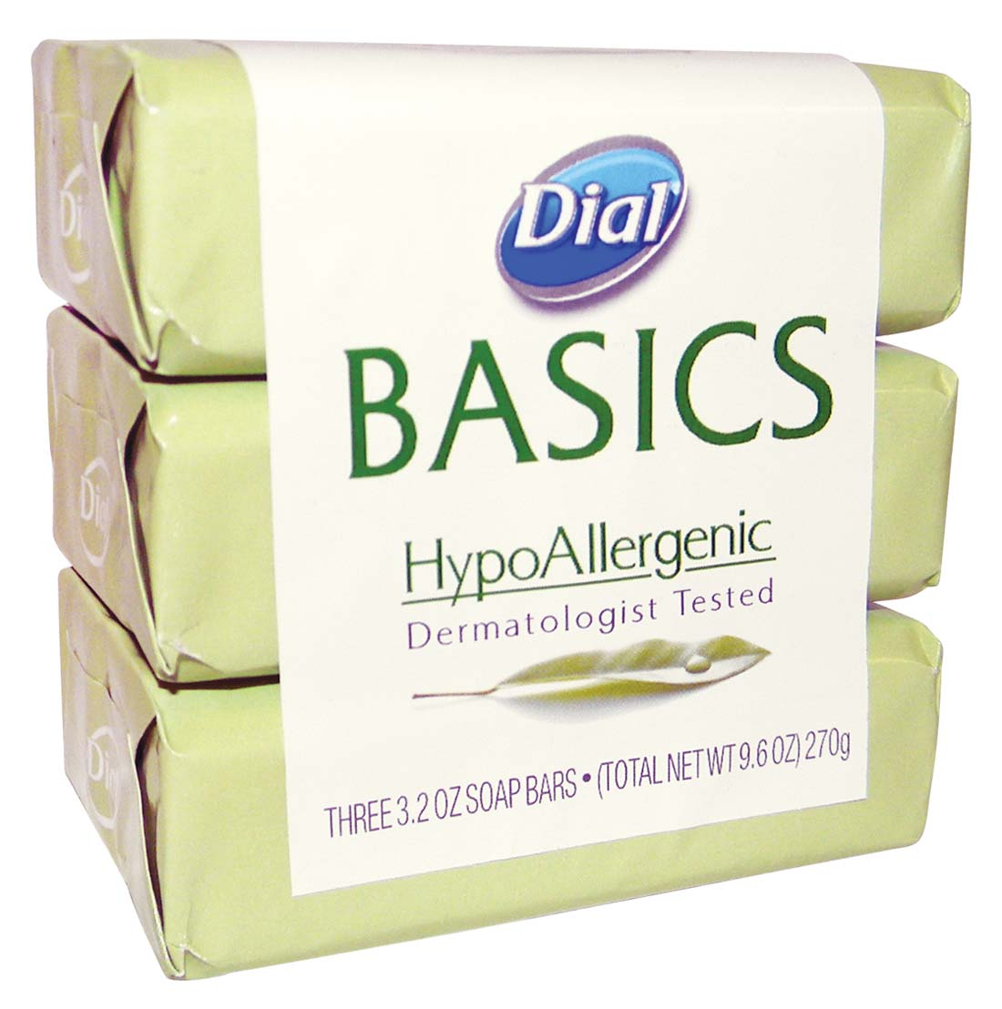 View DIAL BASICS BAR SOAP 3 PK 3.2 OZ EACH HYPOALLERGENIC