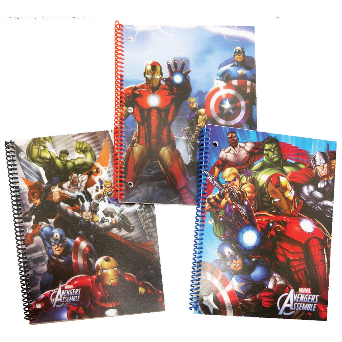 View AVENGERS SPIRAL NOTEBOOK 50 SHEETS ASSORTED DESIGNS IN DISPLAY WIDE RULED