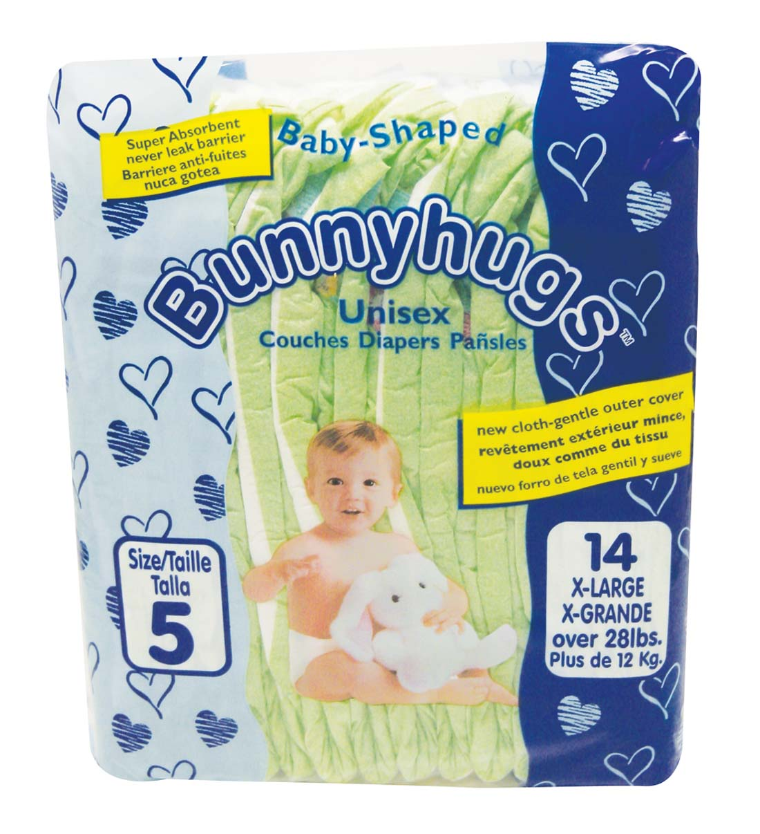 View BUNNYHUGS DIAPER 14 PK SIZE 5 EXTRA-LARGE 28 LBS+ **MADE IN USA**