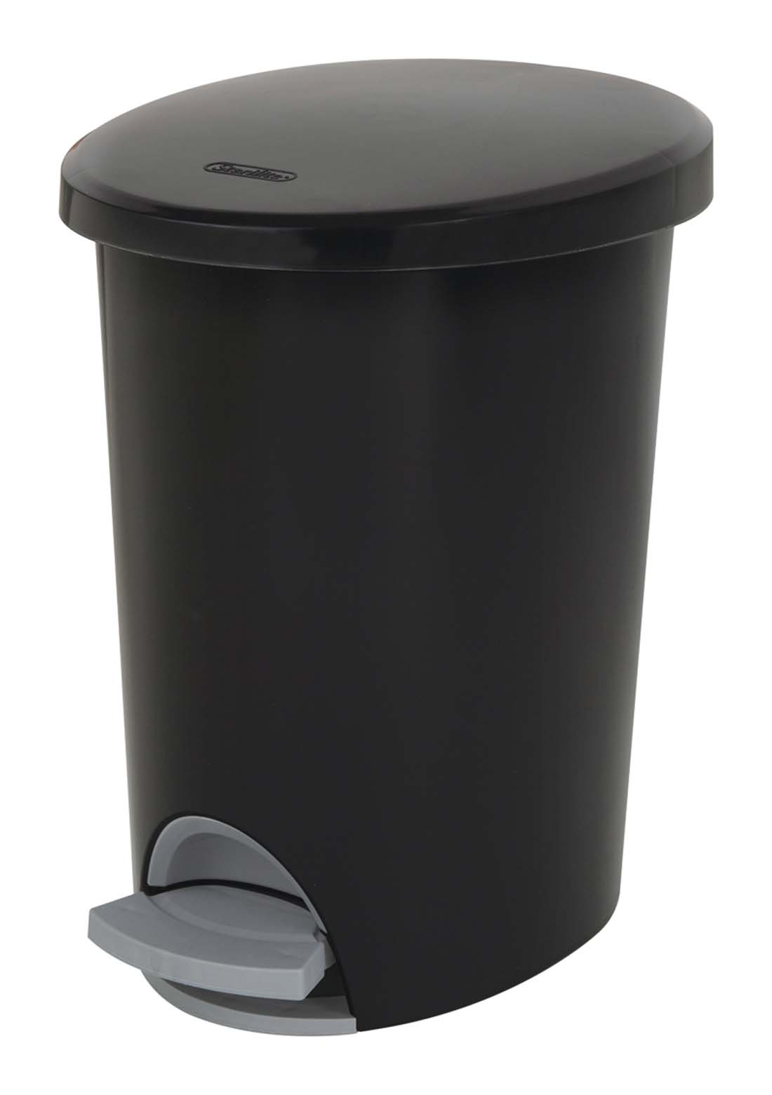 View STERILITE WASTE BASKET 10 QUART WITH STEP OPENER BLACK **MADE IN USA**