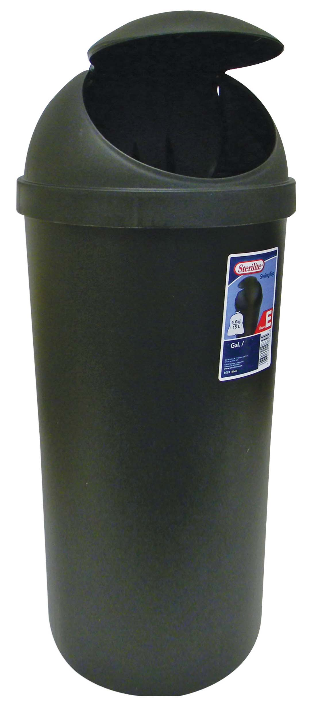 View STERILITE WASTE BASKET 42 QUART SWING TOP BLACK **MADE IN USA**