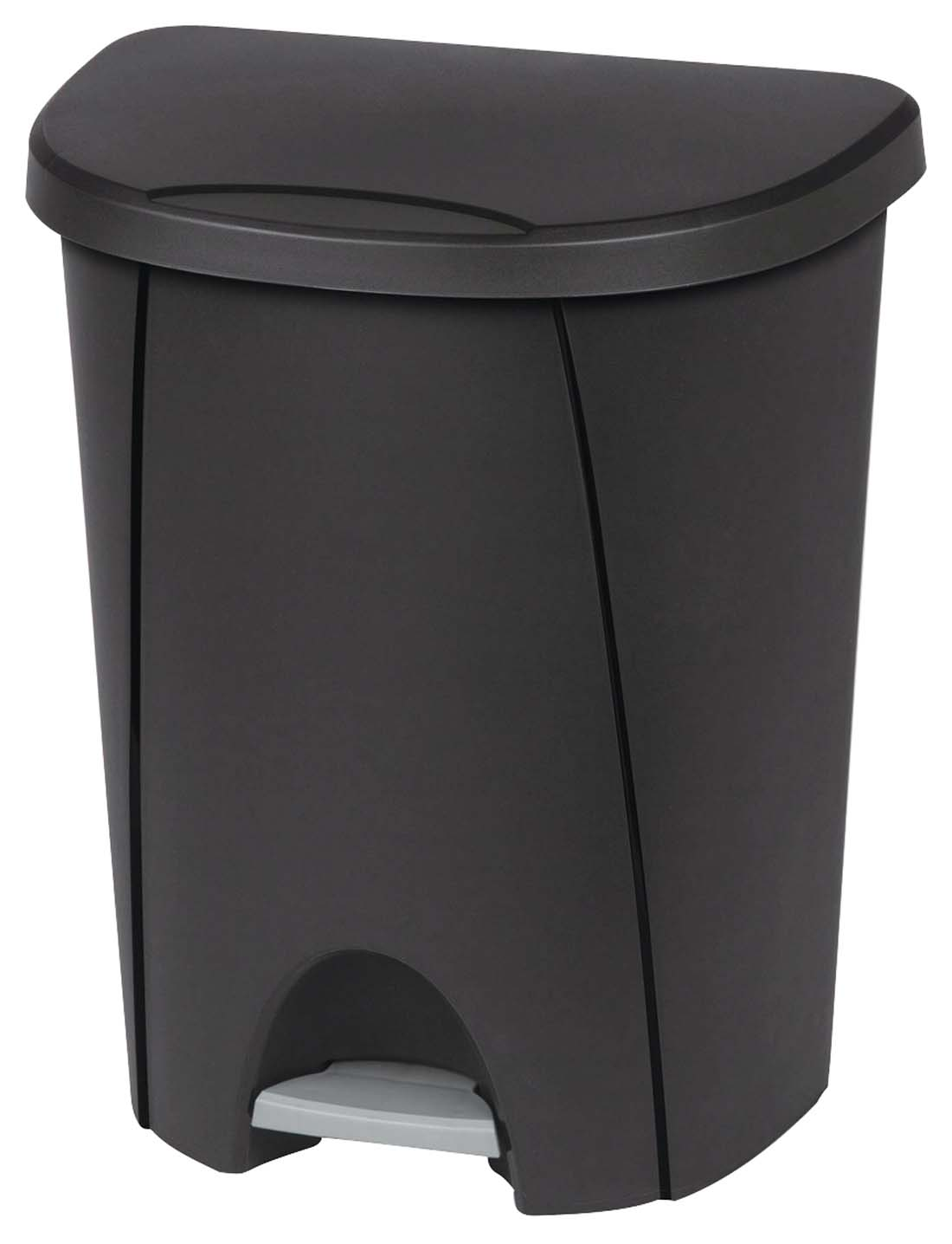 View STERILITE WASTE BASKET 26 QUART WITH LID AND STEP OPENER BLACK **MADE IN USA**