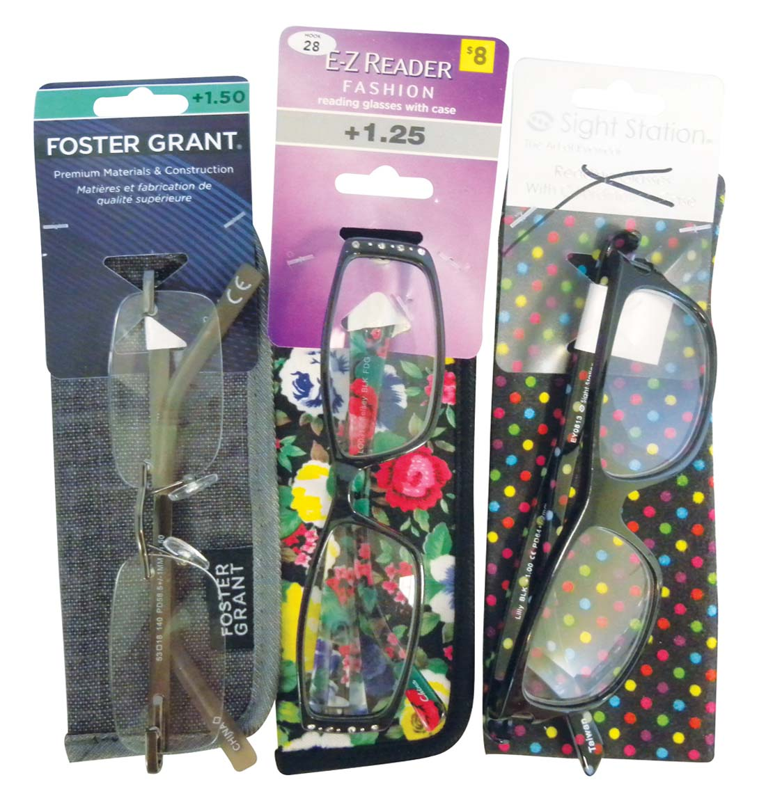 View FOSTER GRANT PREMIUM READING GLASSES WITH CASES ASSORTED STYLES AND POWERS +1.00 TO 1.50