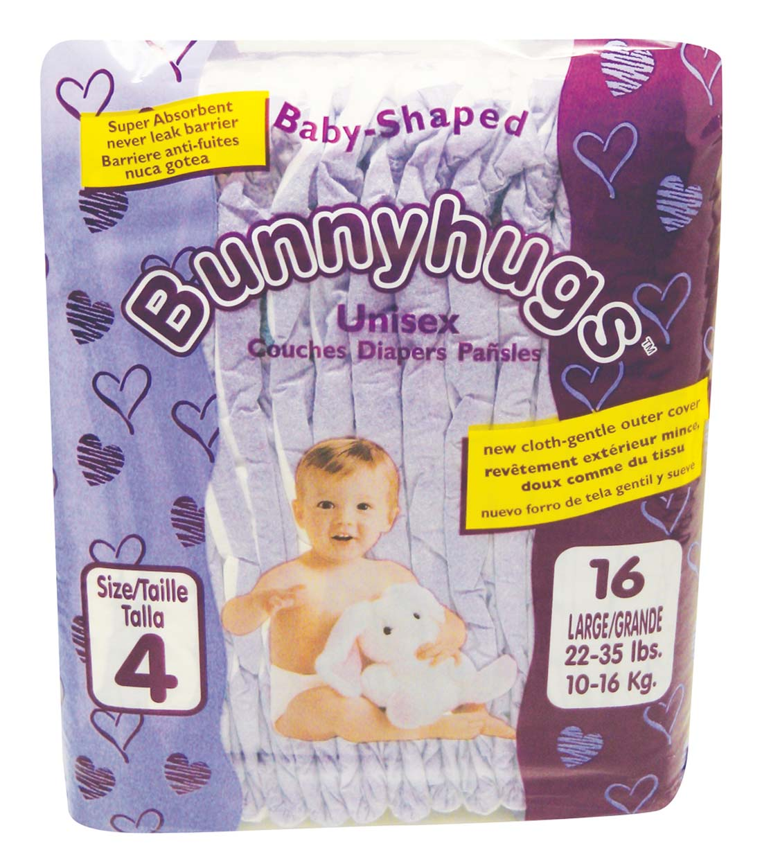 View BUNNYHUGS DIAPER 16 PK SIZE 4 LARGE 22-35 LB **MADE IN USA**