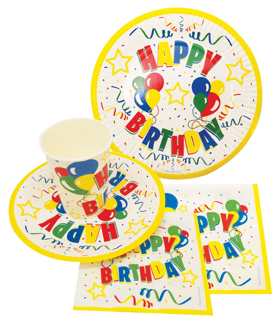 View BIRTHDAY PARTY SET IN DISPLAY (8 COUNT 9 INCH PLATE 8 COUNT 7 INCH PLATE8 COUNT 9 OUNCE CUPS 20 LARGE NAPKIN 20 SMALL NAPKIN)
