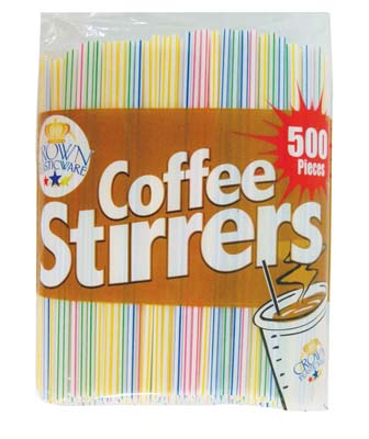 View COFFEE STIRRER 500 COUNT ASSORTED STRIP COLORS