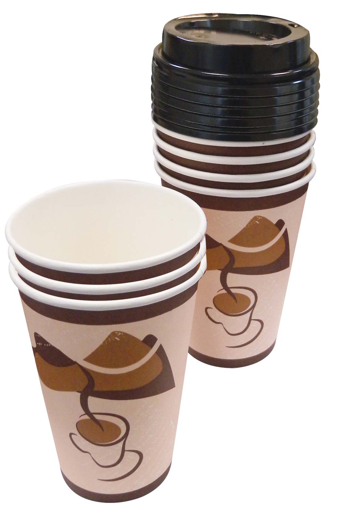 View HOT CUPS 16 PK 8 OZ - 8 CUPS + 8 LIDS