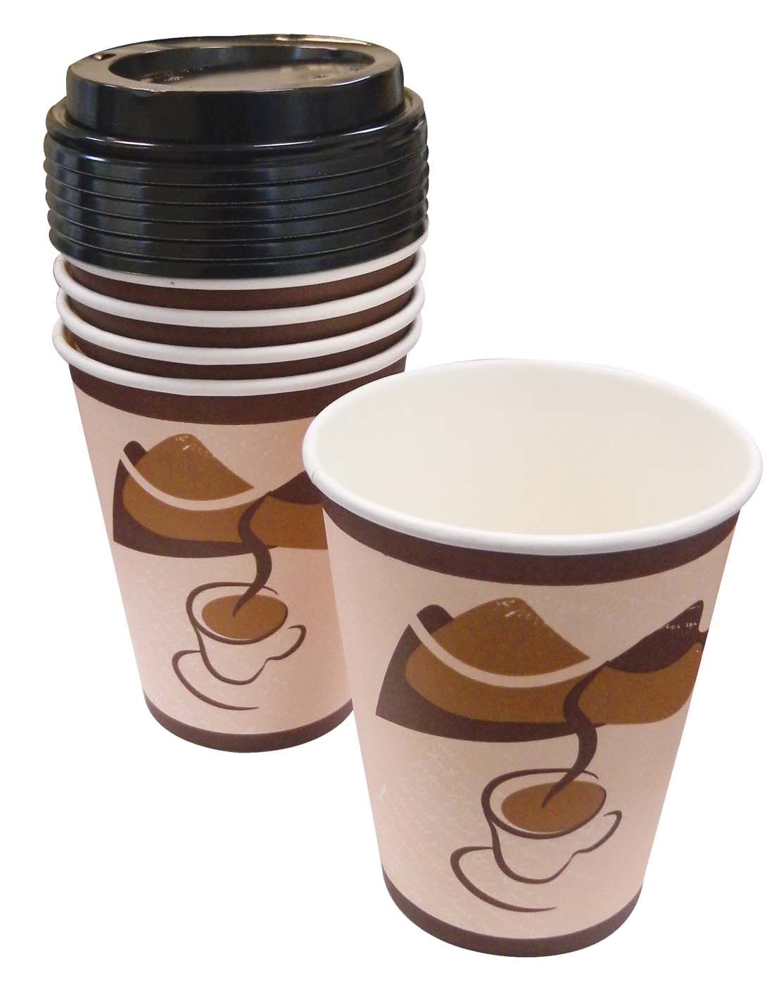 View HOT CUPS 12 PK 12 OZ - 6 CUPS + 6 LIDS
