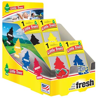 View LITTLE TREE AIR FRESHENER ASSORTED SCENTS - NEW CAR/ BLACK ICE/VANILLA/ STRAWBERRY IN DISPLAY