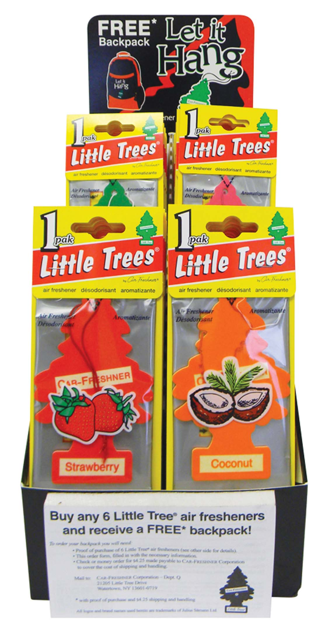 View LITTLE TREE AIR FRESHENER DISPLAY ASSORTED FRUIT SCENTS (SUNBERRY COOLER MARGARITA BAYSIDE BREEZE TROPICAL SHORES)