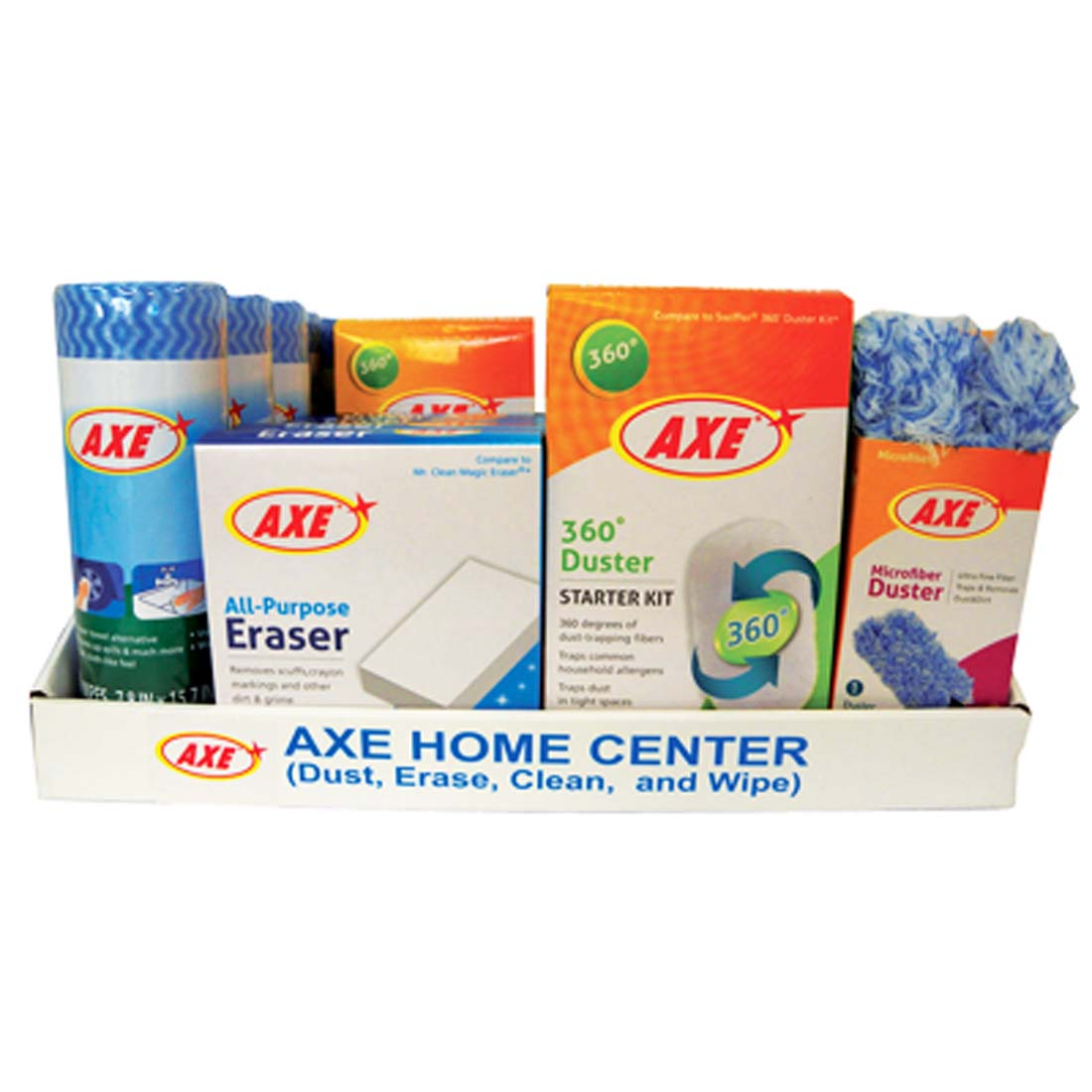 View AXE HOME CENTER CLEANING KIT 24 PIECE IN DISPLAY (MICROFIBER DUSTER 360 DEGREE DUSTER ALL-PURPOSE ERASER REUSABLE WIPES)