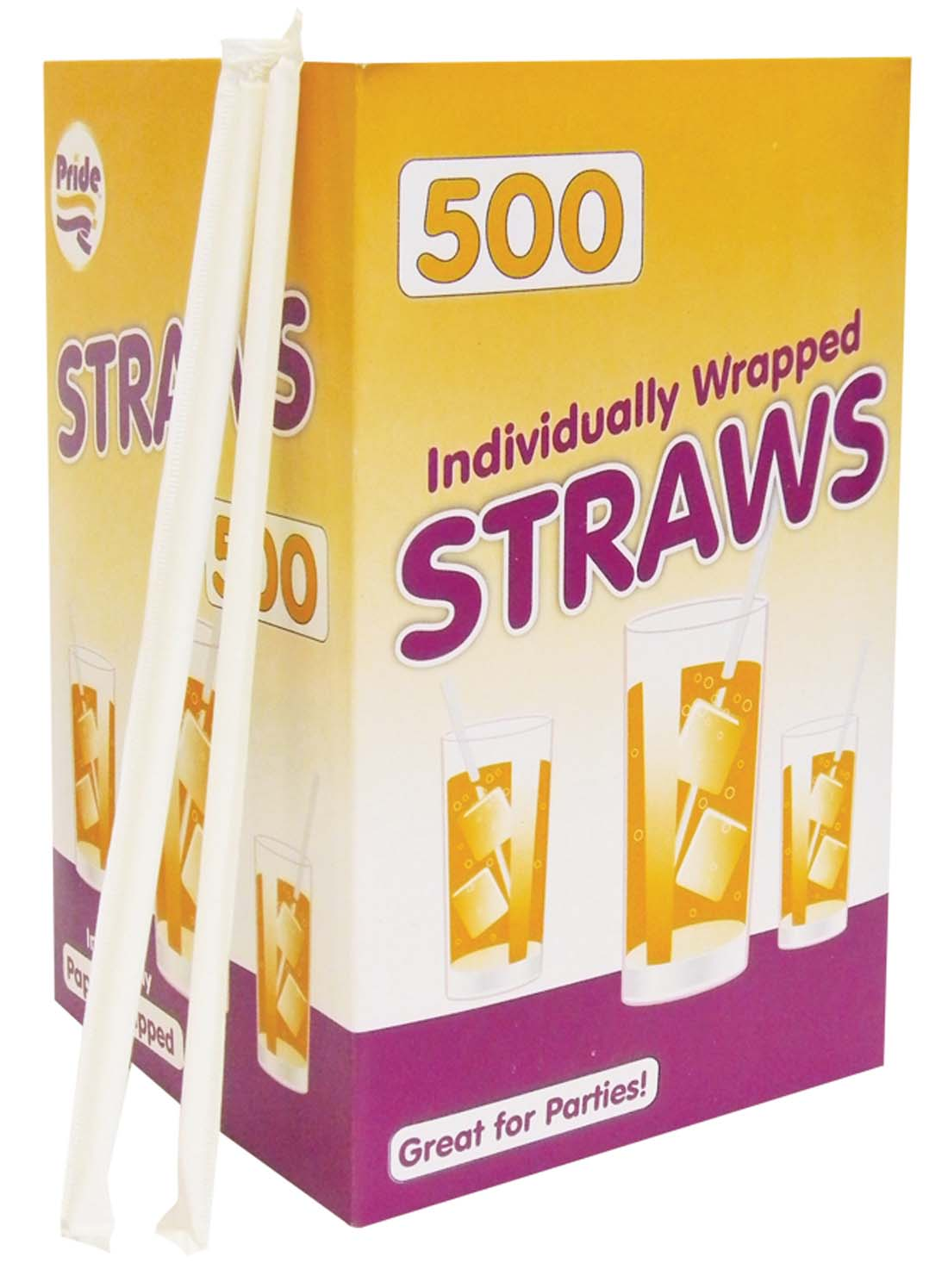 View DRINKING STRAW 500 COUNT INDIVIDUALLY WRAPPED CLEAR (THIS ITEM IS NOT FLEXIBLE)