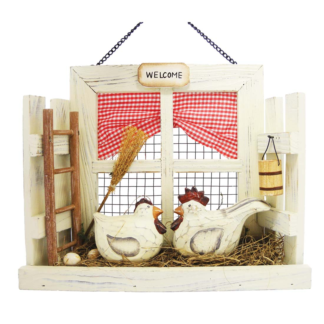 "View HANGING WALL WELCOME DECO HEN AND ROOSTER SCENE 11.5"" X9.5 TALL"""