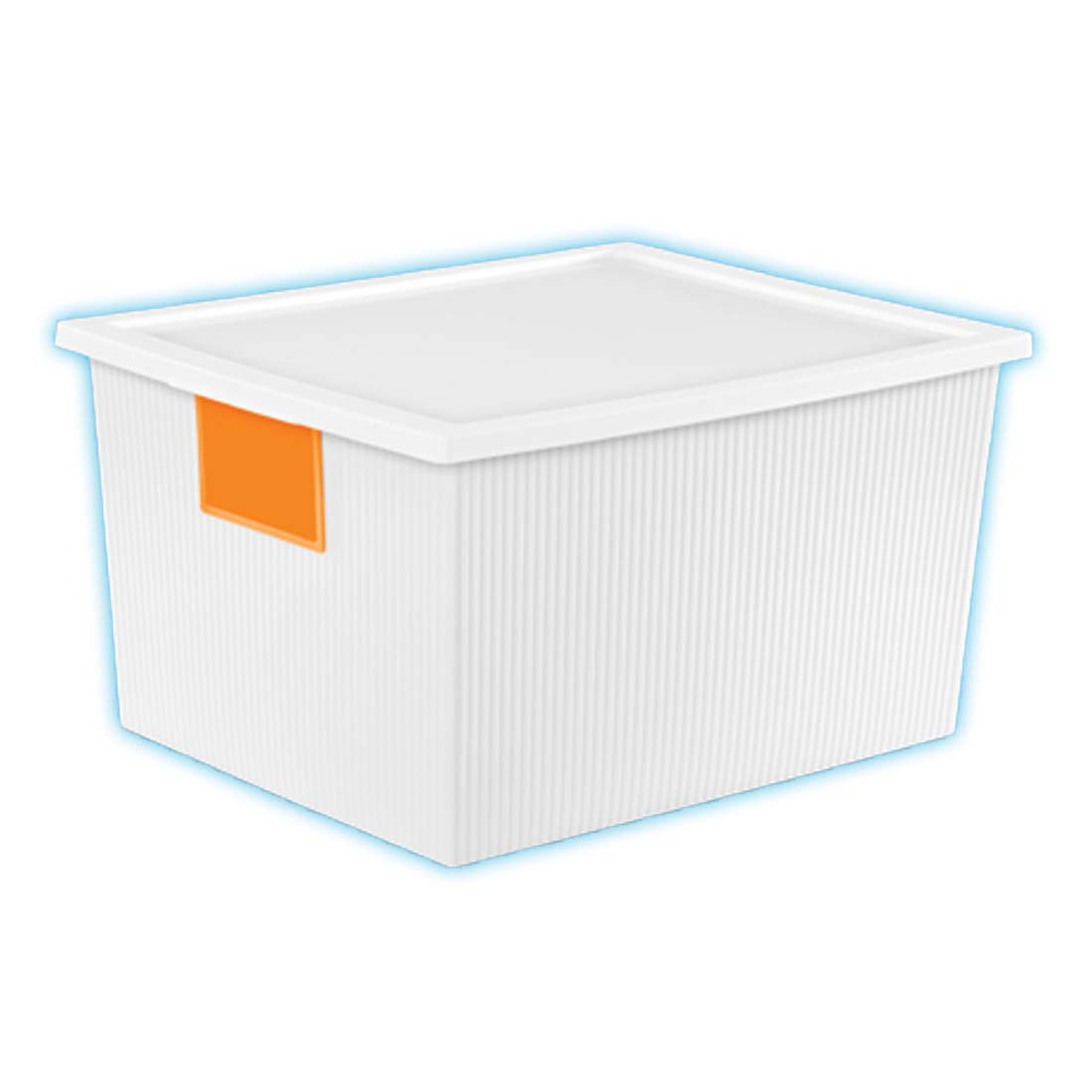 View STERILITE STORAGE BOX 16.5 X 13.25 X 8.75 INCH 25 QUART WITH 2 DRY ERASE LABELS ORANGE AND BLUE ** MADE IN USA **