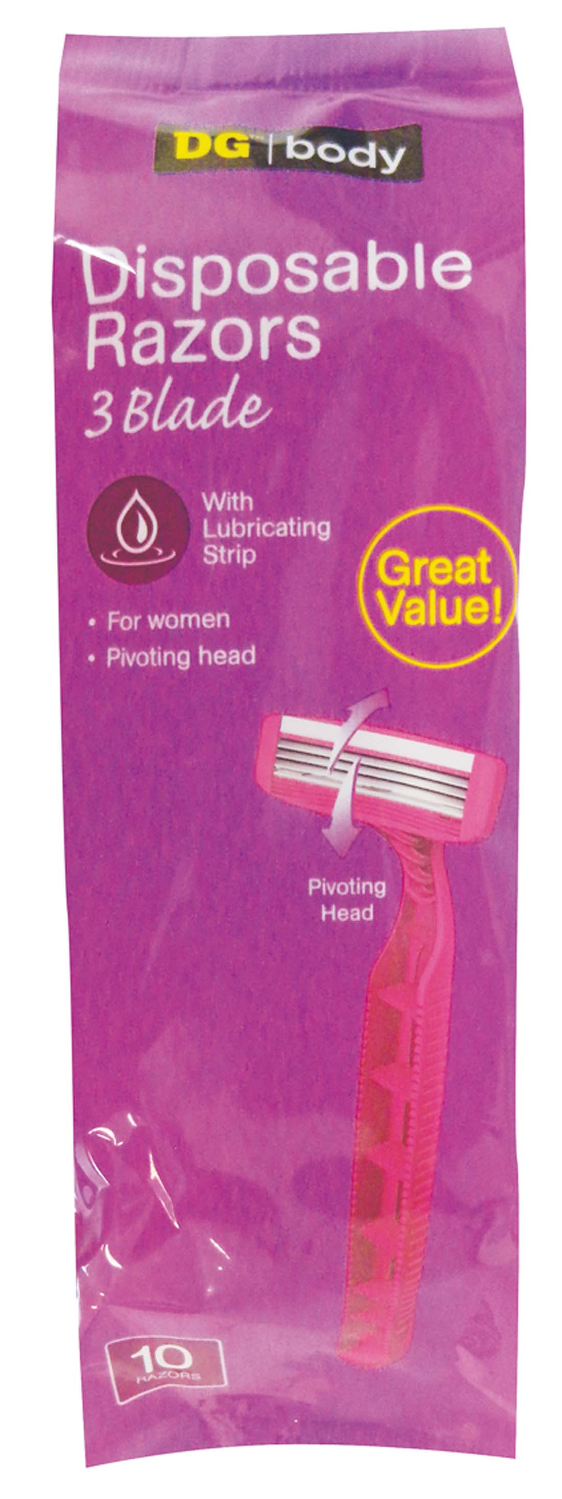 View DISPOSABLE WOMEN RAZORS 3 BLADE 10 COUNT WITH LUBRICATING STRIP
