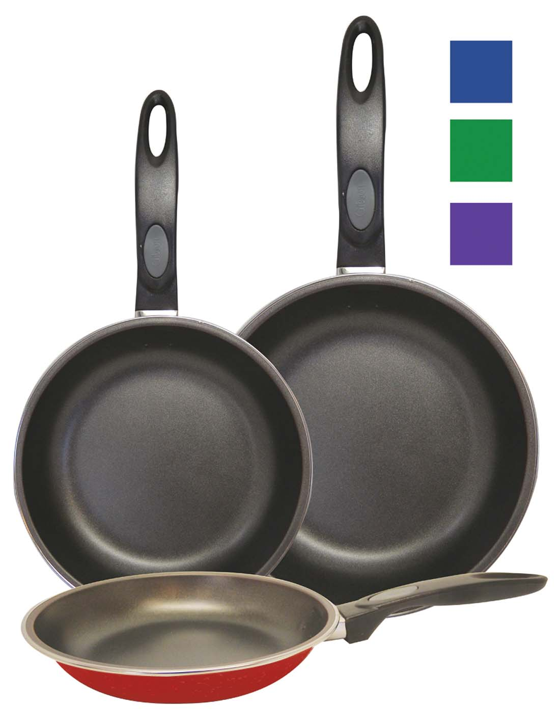 View GIBSON FRY PAN SET 3 PIECE 7/9/11 INCH PURPLE GREEN BLUE RED