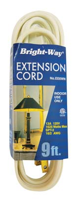 View BRIGHT-WAY EXTENSION CORD 9 FT WHITE INDOOR ONLY ETL APPROVED