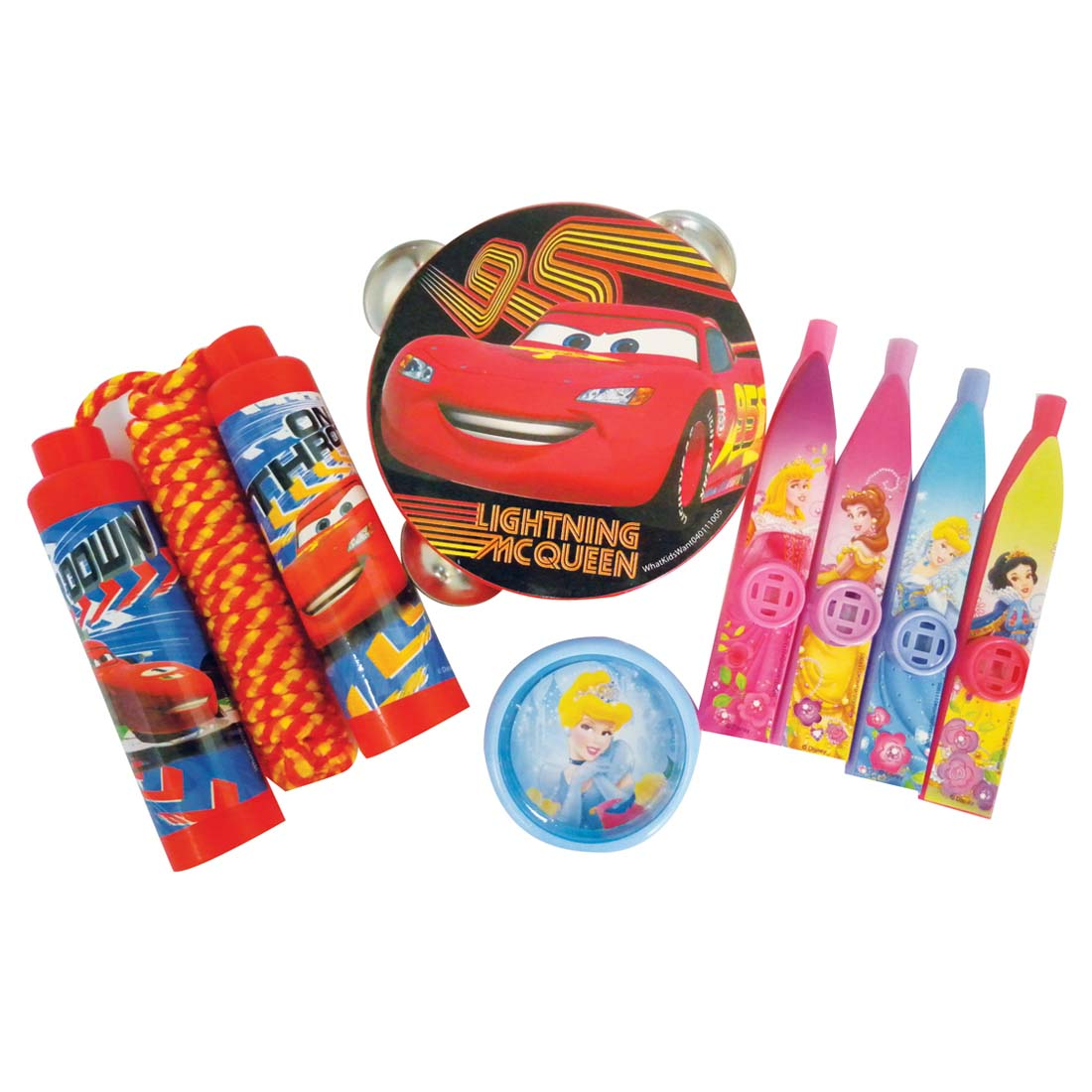View DISNEY TOYS ASSORTED YOYOS/JUMP ROPES/KAZOOS/TAMBORINES PRINCESS & CARS 2 DESIGNS
