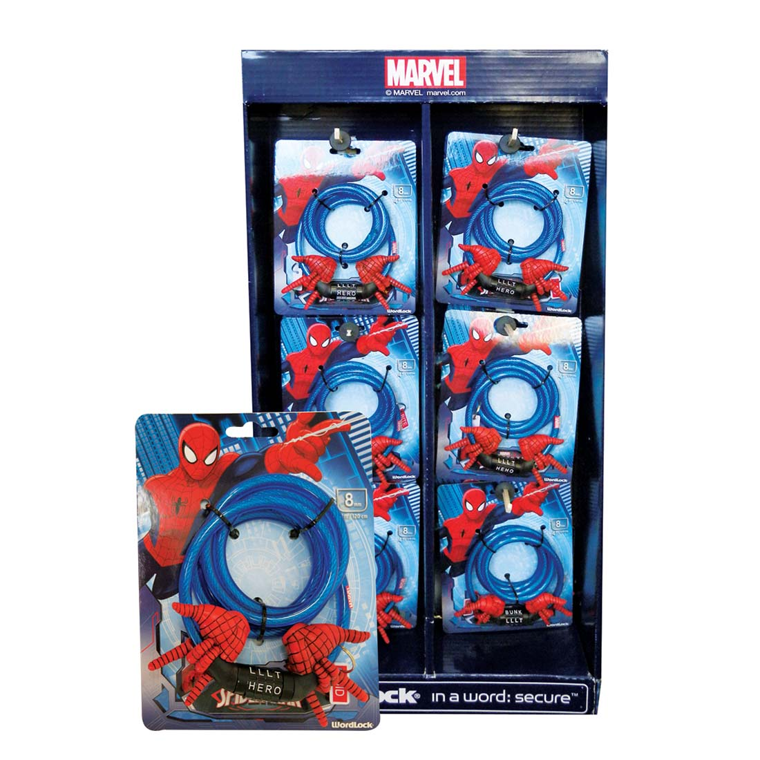 View MARVEL SPIDERMAN BICYCLE WOOD COMBITION LOCK 4 FT 8 MM IN DISPLAY