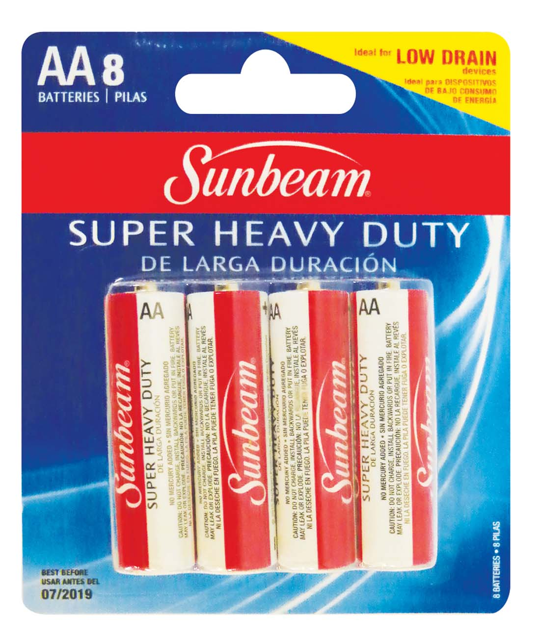 "View SUNBEAM SUPER HEAVY DUTY BATTERIES 8 PACK AA ""EXPIRATION 07/2019"""