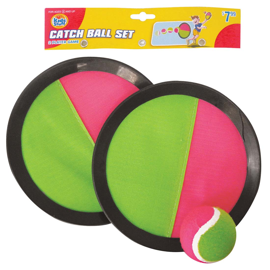 View CATCH BALL SET INCLUDES 2 VELCRO MITTS/ 1 BALL AGES 6+ PREPRICED $7.99