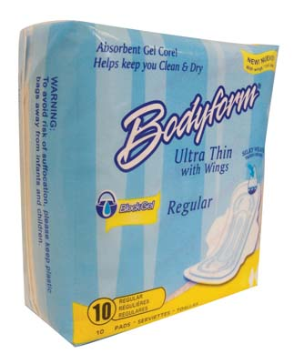 View BODYFORM MAXI PADS 10 CT ULTRA THIN WITH WINGS REGULAR