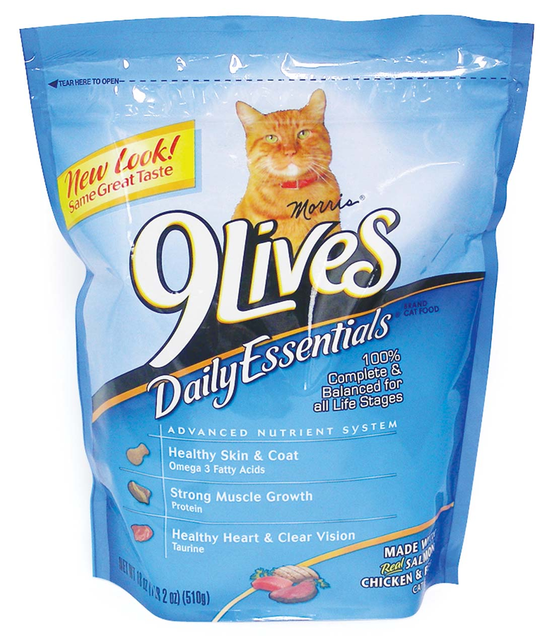 View 9 LIVES CAT DRY FOOD 18 OZ DAILY ESSENTIALS - SALMON CHICKEN & BEEF