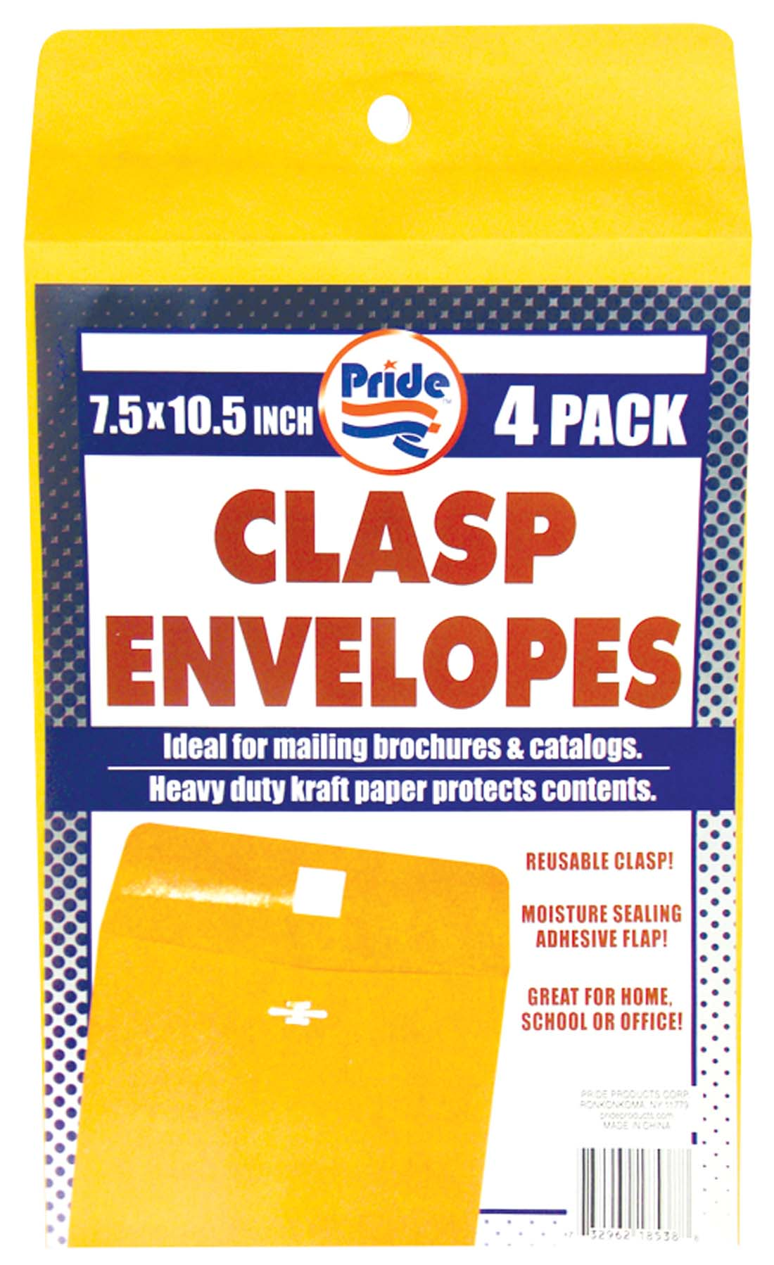 View CLASP ENVELOPE 4 PACK 7.5 X 10.5 INCH
