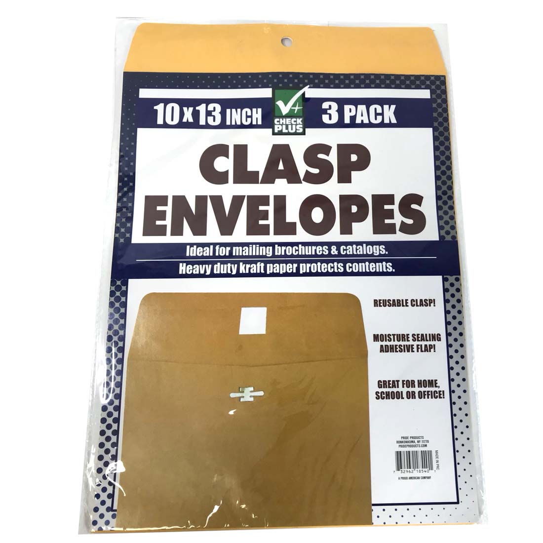 View CLASP ENVELOPES 3 PACK 10 X 13 INCH