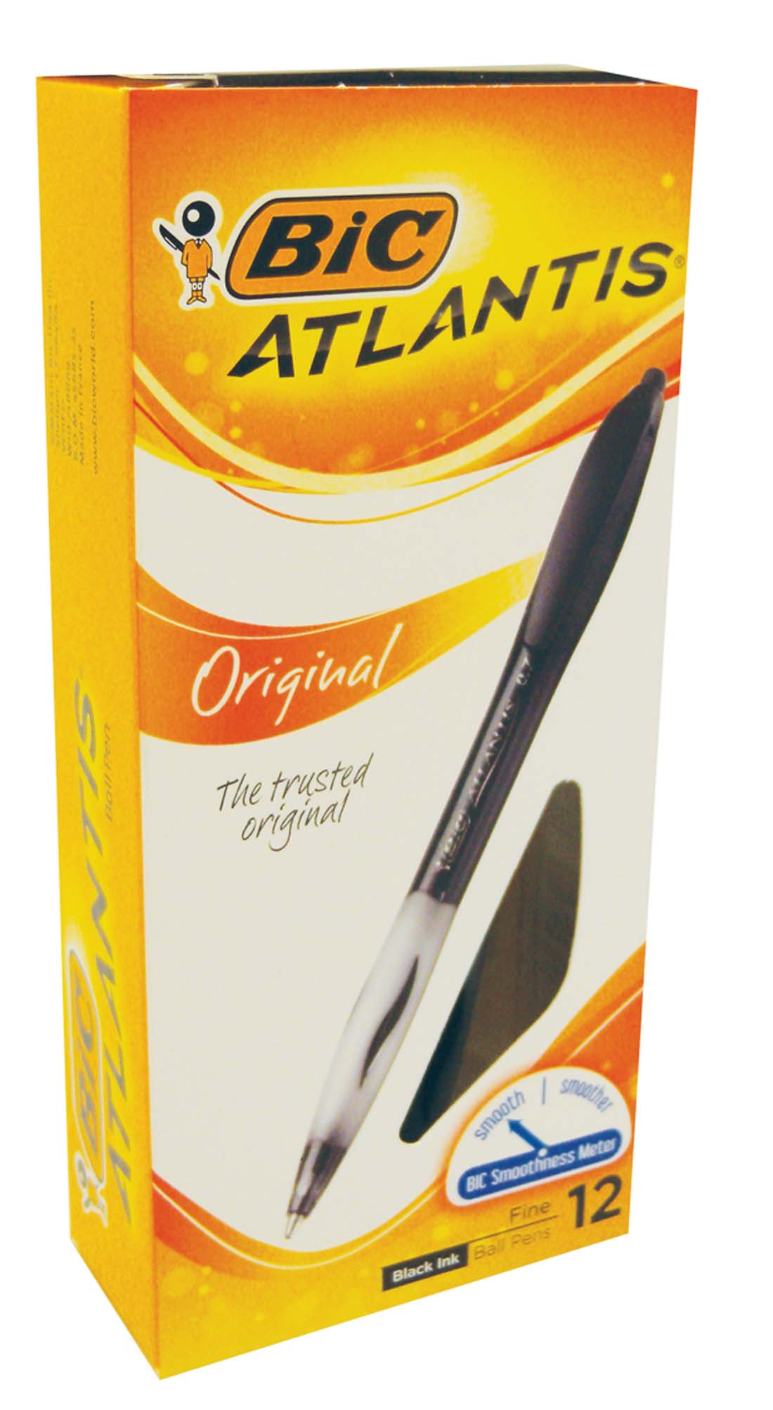 View BIC ATLANTIS BALLPOINT PENS 12 PK FINE BLACK INK