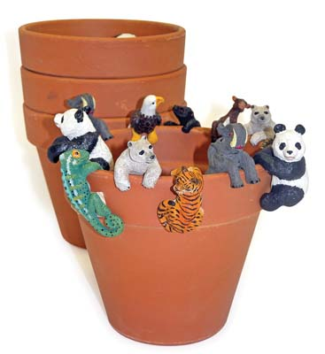 View LAND & SEA DECORATIVE POT HANGERS WITH TERRA COTTA POTS SMALL ASSORTED ANIMAL DESIGNS