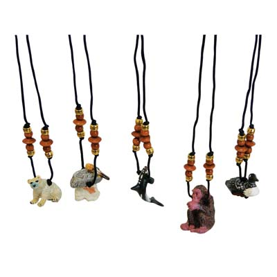 View LAND & SEA WOODEN NECKLACE ASSORTED ANIMAL DESIGNS