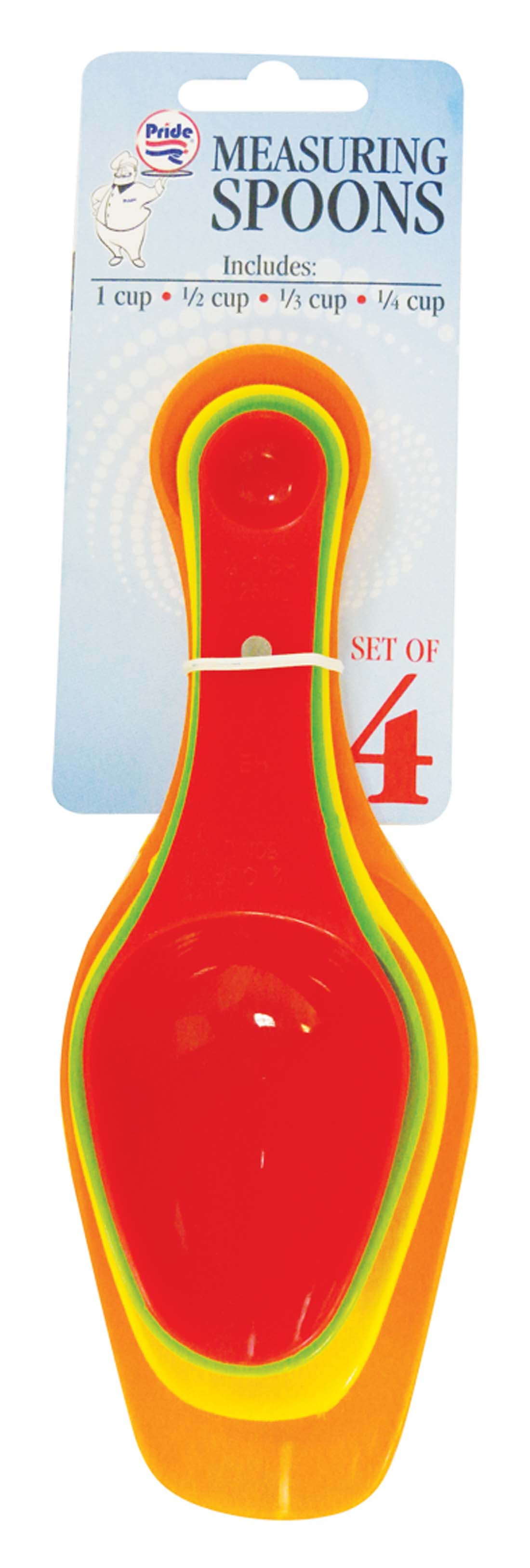 View MEASURING SPOONS 4 PC ASSORTED COLORS WITH MAGNETIC STORING - 1 CUP/ 1/2 CUP/ 1/3 CUP/1/4 CUP