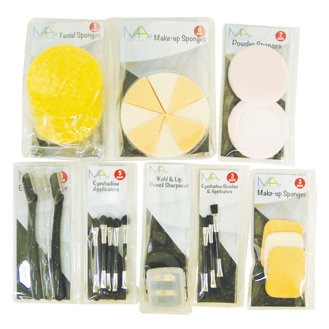 View MONICA ASHLEY MAKE-UP ACCESSORIES SET ASSORTED SPONGES/ APPLICATORS/ SHAPER/ SHARPENER  IN DISPLAY
