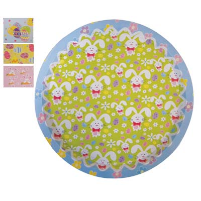 View TIN EASTER TRAY 12.5 INCH ROUND ASSORTED COLORS