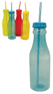 View DRINKING BOTTLE 22 OUNCE WITH STRAW ASSORTED COLORS