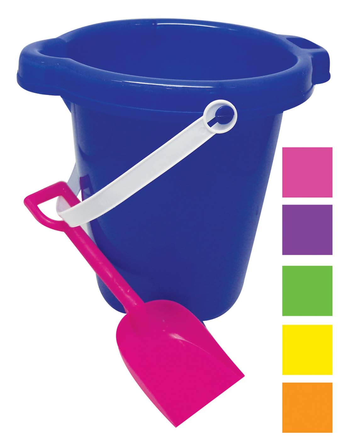 View BEACH PAIL 7 INCH WITH SHOVEL & SPOUT ASSORTED COLORS