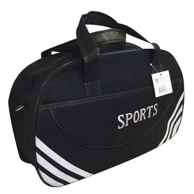 View SPORT DUFFEL BAG 19.5 X 11.5 X 6.5 INCH BLACK WITH WHITE STRIPE