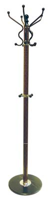 View COAT RACK 70 INCH WITH MARBLE BASE BROWN CHECKERED DESIGN