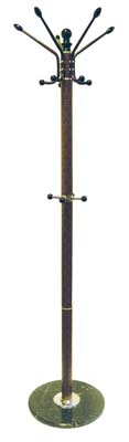View COAT RACK 68 INCH WITH MARBLE BASE BROWN CHECKERED DESIGN