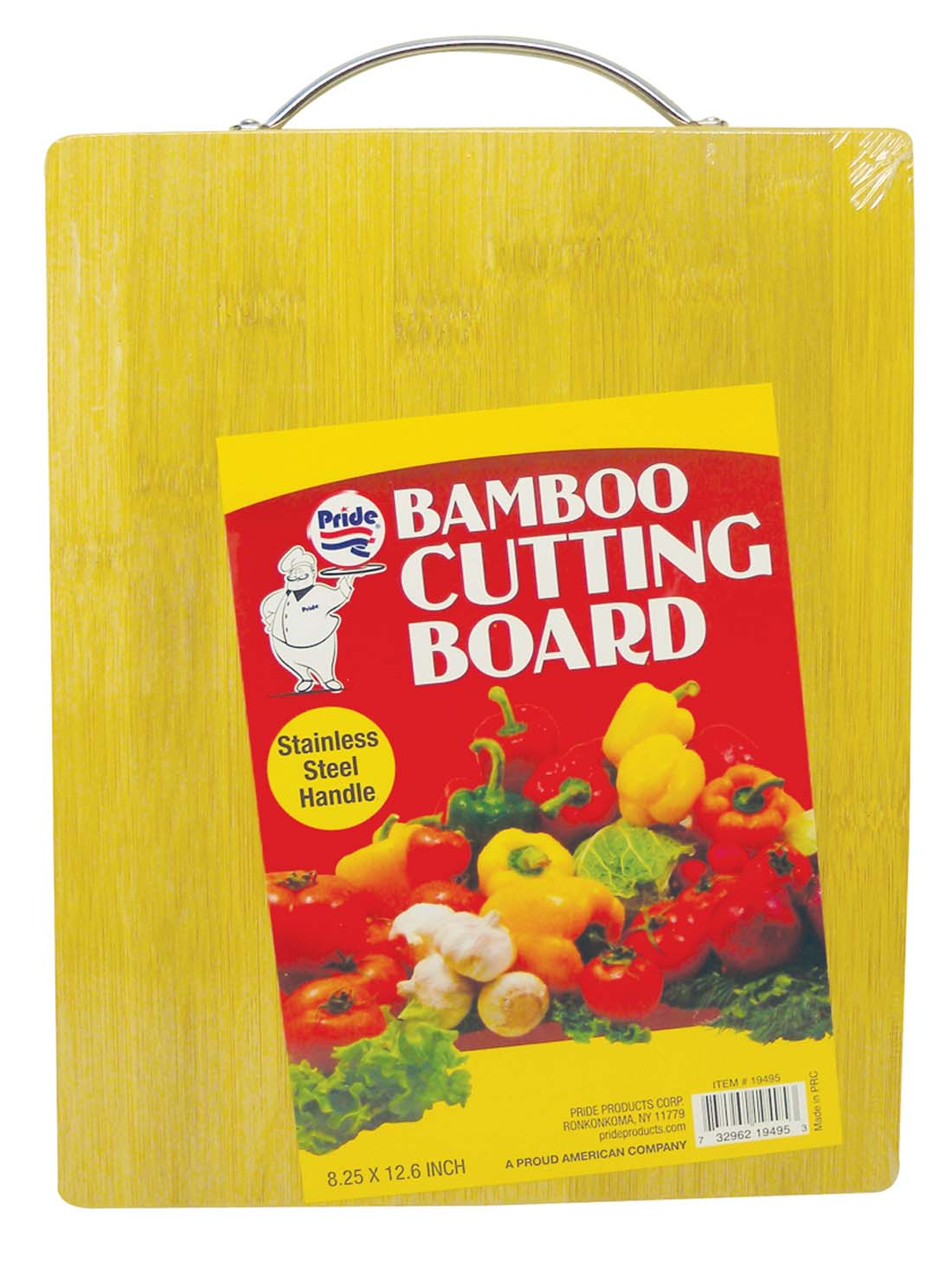 View BAMBOO CUTTING BOARD 8.25 X 12.6 INCH HEAVY DUTY WITH STAINLESS STEEL HANDLE