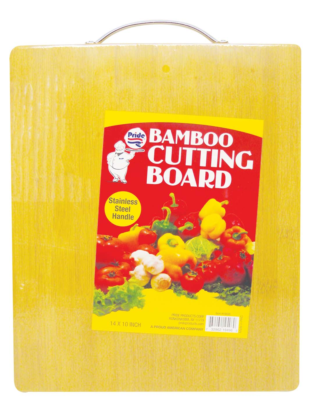 View BAMBOO CUTTING BOARD 14 X 10 INCH HEAVY DUTY WITH STAINLESS STEEL HANDLE